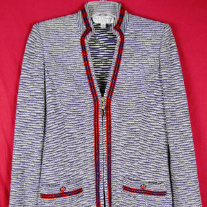 St John Marie Gray Zip Mandarin Collar Tweed Knit